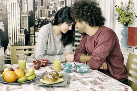 couple having fun: Cute couple head to head in love