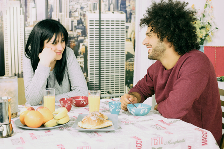 Happy man in love with girlfriend photo