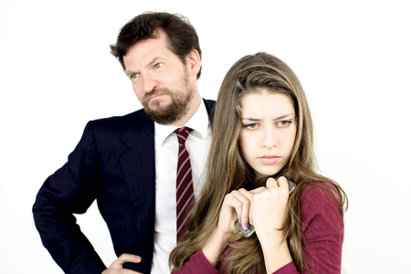 knowing: Sad man not knowing what to do with daughter Stock Photo