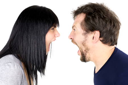 wives: Crazy angry couple fighting hard Stock Photo