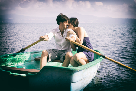 Happy couple in vacation in Europe photo