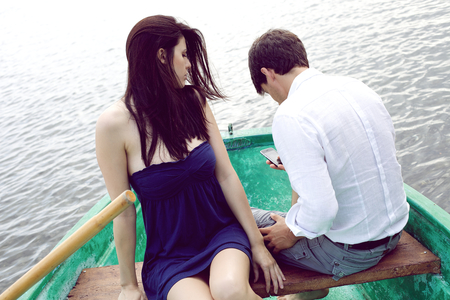 cheating woman: Unhappy woman in vacation with boyfriend cheating