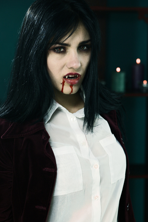 female vampire: Unhappy female vampire very aggressive