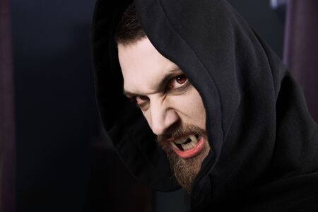 dracula: Male vampire ready to attack and eat blood
