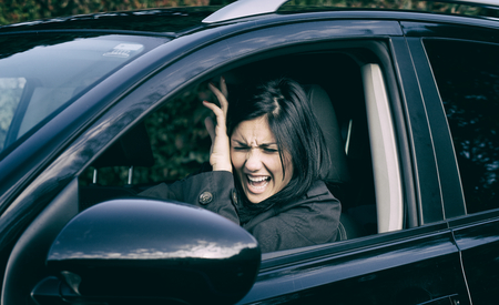 road traffic: Woman scared about car accident