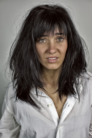 messy hair: funny concept of disorientation and desperation