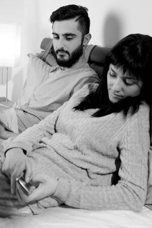 jealous: Young troubled couple jealous concept