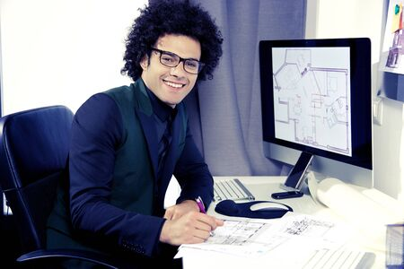 architect: Cool business architect with suit in office