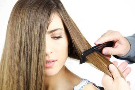 combed: Beautiful long hair being combed