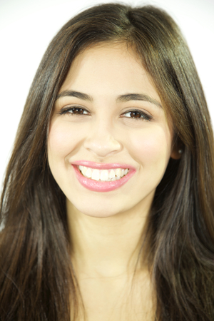 Cute woman smiling with perfect teeth and lipstick