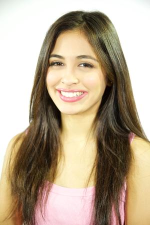 beautiful young woman smiling at camera