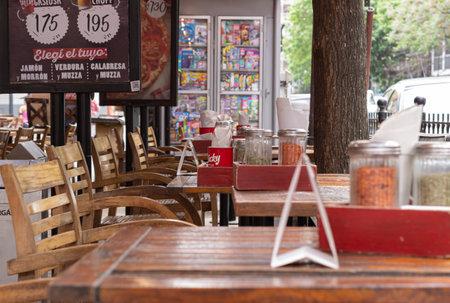 Outdoor restaurant tables during coronavirus.