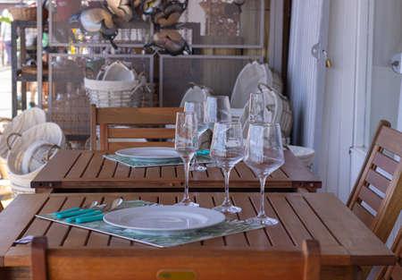 Outdoor restaurant table during coronavirus.