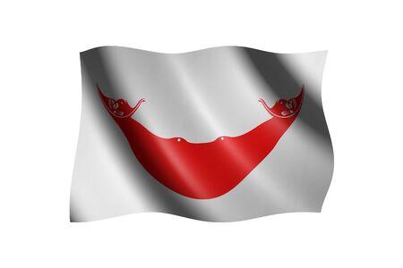 revolutionary: Flag of Easter Island isolated on white, 3d illustration