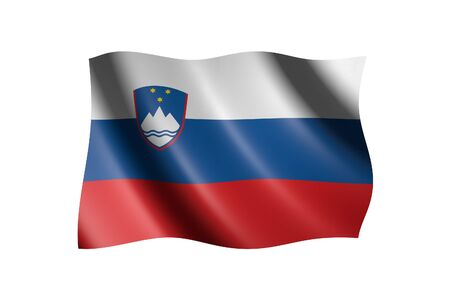 Flag of Slovenia isolated on white, 3d illustration