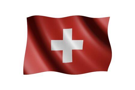 revolutionary: Flag of Switzerland isolated on white, 3d illustration