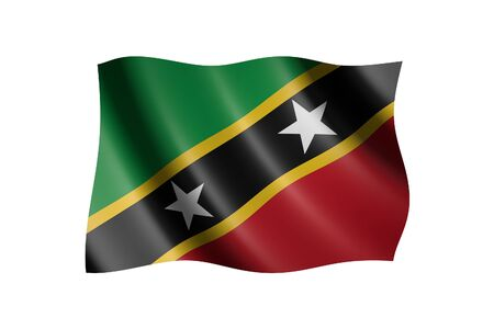 Flag of Saint Kitts and Nevis isolated on white, 3d illustration