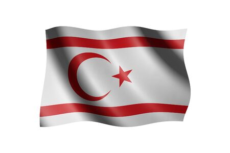 Flag of Northern Cyprus isolated on white, 3d illustration Stock Photo