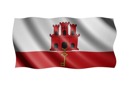 Flag of Gibraltar isolated on white, 3d illustration