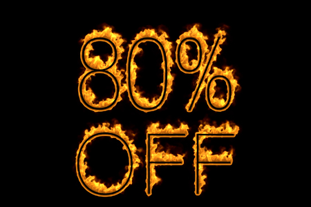 Fire 80% off isolated on black background, 3d illustration