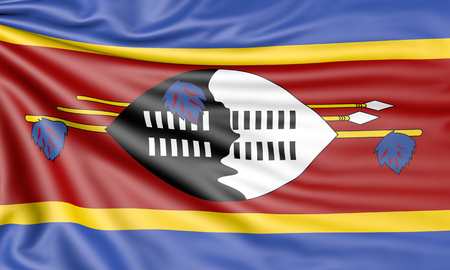 Flag of Swaziland, 3d illustration with fabric texture