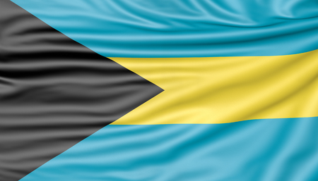 Flag of the Bahamas, 3d illustration with fabric texture