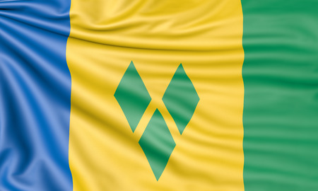 Flag of Saint Vincent and the Grenadines, 3d illustration with fabric texture Stock Photo