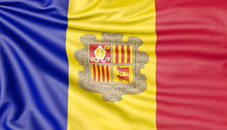 Flag of Andorra, 3d illustration with fabric texture