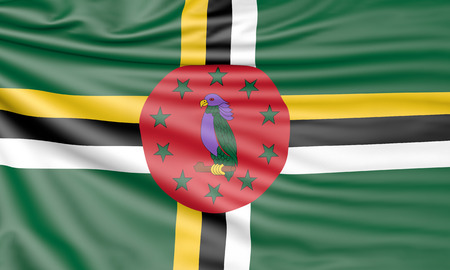 Flag of Dominica, 3d illustration with fabric texture Stock Photo