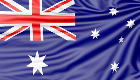 Flag of Australia, 3d illustration with fabric texture