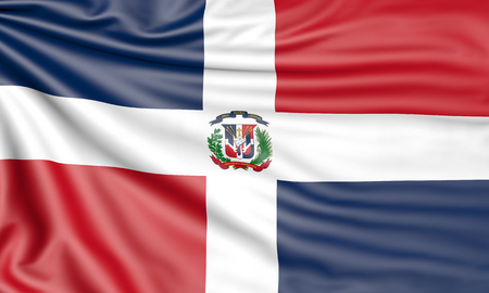 Flag of the Dominican Republic, 3d illustration with fabric texture