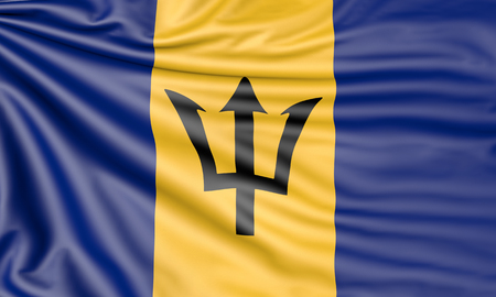 Flag of Barbados, 3d illustration with fabric texture Stock Photo
