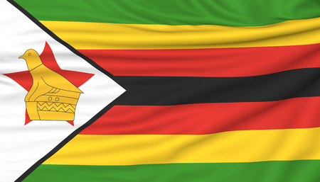 Flag of Zimbabwe, 3d illustration with fabric texture Stock Photo
