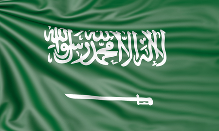 Flag of Saudi Arabia, 3d illustration with fabric texture Stock Photo