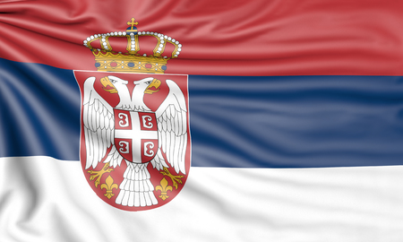 Flag of Serbia, 3d illustration with fabric texture Stock Photo