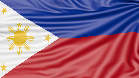 Flag of the Philippines, 3d illustration with fabric texture