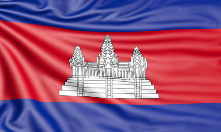 Flag of Cambodia, 3d illustration with fabric texture Stock Photo