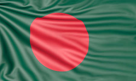 Flag of Bangladesh, 3d illustration with fabric texture