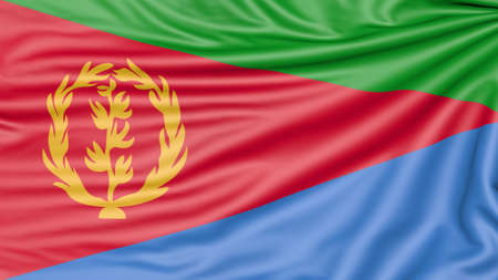 Flag of Eritrea, 3d illustration with fabric texture