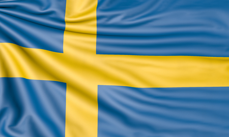 Flag of Sweden, 3d illustration with fabric texture