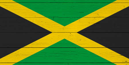 Flag of Jamaica on wooden background Stock Photo