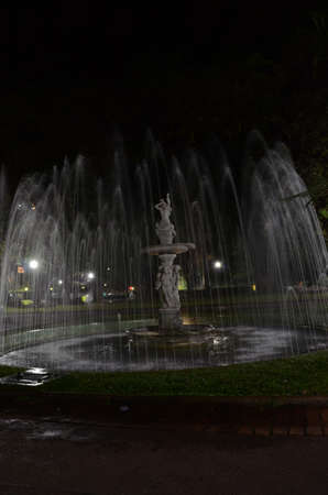 Praça da Liberdade (translated as Liberty Square) at Belo Horizonte in the state of Minas Gerais in Brazil at night with water fountain on