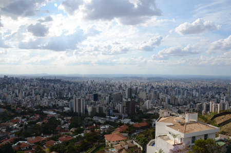 Landscape of the city of Belo Horizonte, State of Minas Gerais, Brazil at a sunny day with blue sky at 3pm in the spring