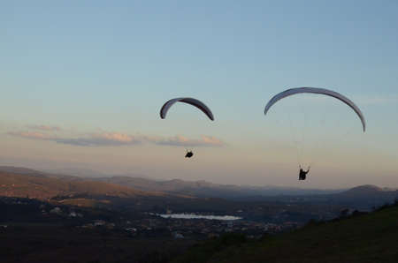 Two Paraglidings at sun set in Topo do Mundo (translated to Top of the World) in Minas Gerais