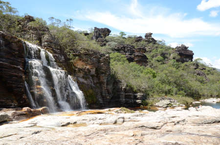 Waterfall in Rio Preto State Park in Minas Gerais at Cachoeira da Semper-Viva (translate to Always-Alive Waterfall, with is the popular name of Actinocephalus polyanthus) Banco de Imagens