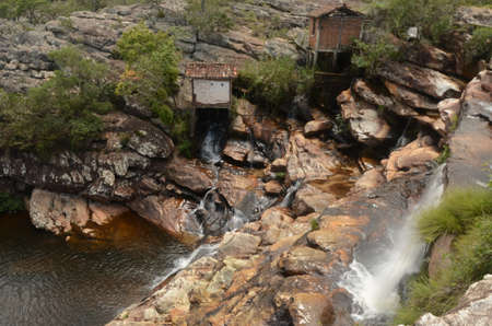 Waterfall in Milho Verde in the state of Minas Gerais called Cachoeira do Moinho (translated to Watermill Waterfall)