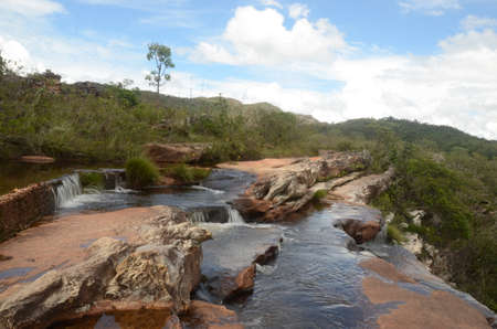 Top of Waterfall in Milho Verde in the state of Minas Gerais called Cachoeira do Moinho (translated to Watermill Waterfall)