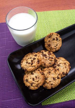 Delicious chocolate cookies accompanied by a delicious glass of milk