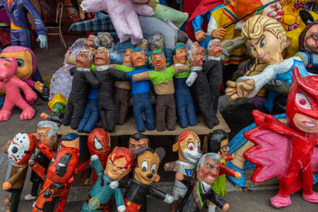 Quito, Pichincha, Ecuador, December 30, 2019. Paper mache and rag dolls to burn at the end of the year representing the year that is going to be sold on the streets of Ecuador