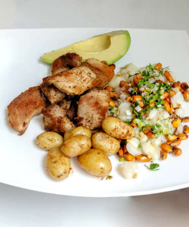It takes forty-five degrees of a traditional Ecuadorian dish called fritada with mote, potatoes and avocado